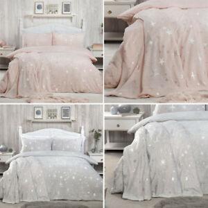 New Luxury Bedding Scattered Stars Foil Fleece Warm Cosy Duvet W Pillowcases Set