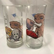 Vintage E.T. Extra Terrestrial Glass Cups 1982 Movie Pizza Hut