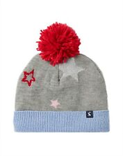 NEW! Joules Girls Halley Grey Star Bobble Knitted Hat