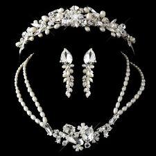 Silver Freshwater Pearl, Swarovski Crystal Bridal Tiara Necklace Jewelry Set