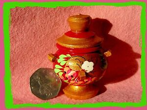 Samovar Fridge magnet Russian doll tea Berry small HAND PAINTED Wooden GIFT