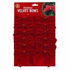 Christmas Red Velvet Bows - 12 Pack (Tree decoration)