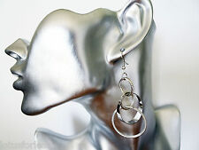 Sexy Long Dangle Drop Earrings with Silver Tone Hoops