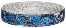 Country Brook Design® 1 Inch Blue Paisley on Silver Nylon Webbing, 5 Yards