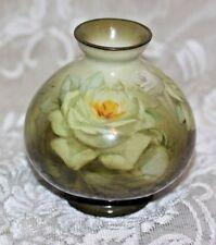 Vintage German Royal Bonn Hand-Painted White Rose Vase Numbered Stamped
