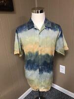 Tulliano 100% Silk Hawaiian Camp Shirt Mens Medium Untucked Perfect Palm Tree