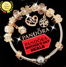 Authentic Pandora Bracelet Silver Rose Gold Mom with European Charms.New