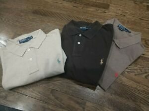 Mena's Ralph Lauren Polo Lot Of 3 Polo's Regular Fit XL Tan Brown And Heather...