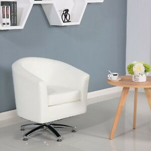 CAMDEN LEATHER SWIVEL TUB CHAIR ARMCHAIR DINING LIVING ROOM HOTEL - WHITE