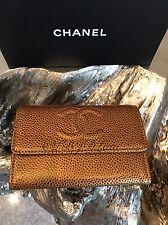 NWT CHANEL Caviar Metallic Gold Bronze Card Holder Coin O-Case Snap Pouch Wallet