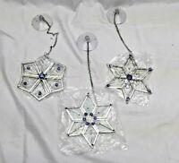 Lillian Vernon Glass Snowflakes Christmas Window Ornaments Set of 3 IOB