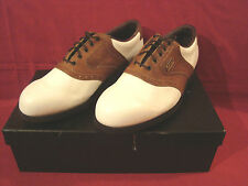 FOOTJOY DRY JOY MEN'S WHITE AND BROWN GOLF SHOES FIT BED WITH INTELLIGEL
