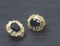 Vintage Gold-Toned Black Rhinestone Clip On Earrings Clear Halo Baguette Cut c25