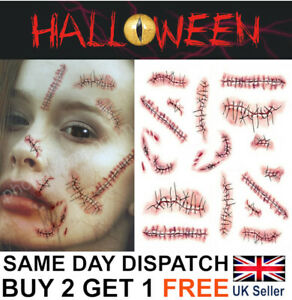Halloween Zombie Scars Stitches Temporary Tattoos Party Wound Face Make Up Kit