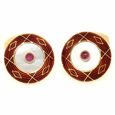 Deakin & Francis 18k Yellow Gold Red Enamel Ruby & Mother of Pearl Cuff Links