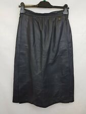 ETIENNE AIGNER Ladies vintage leather midi skirt with pockets black size 8 002