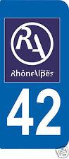 2 STICKERS RA 42 style PLAQUE D'IMMATRICULATION Département Région Rhône Alpes