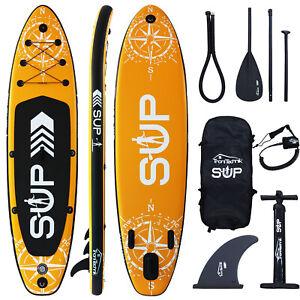 Standup Paddle Stand Board SUP Set Paddling Surfboard Aufblasbar Paddel Orange