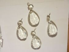 """Antique Chandelier Replacement Crystals Prisms 2 ¼"""" Oval Tear Drop Lot 4"""