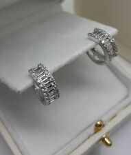 White gold finish baguette style created diamond earrings gift idea free postage
