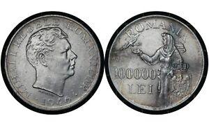 100000 Lei 1946 Romania 🇷🇴 Silver Coin // King Mihai I # 71  From 1$