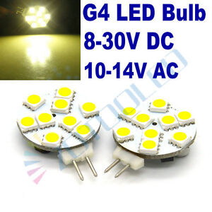 4 x G4 LED light bulbs 9 LEDs 5050 SMD LEDs replace G4 20w Halogen bulb 12-24V