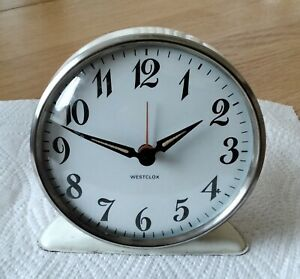 Westclox collectable metal wind-up alarm clock in a good working condition.