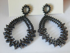 EARRINGS DANGLE BLACK ANTHROPOLOGIE RHINESTONE SERAFINA POST SPARKLE NEW $68