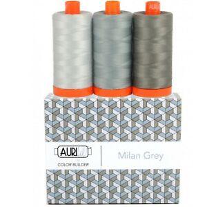 Aurifil Thread 50 wt Cotton 3 spools Color Builder Milan Grey AC50CP3-010