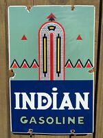 VINTAGE INDIAN GASOLINE PORCELAIN SIGN USA OIL GAS PUMP PLATE PETROLIANA