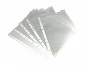 100 Punched Pocket A4 CLEAR PLASTIC Filing Wallets Paper Pockets SLEEVES 11 HOLE