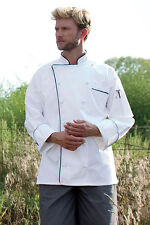 Uncommon Threads Versailles Chef Coat in White with Black Piping Medium