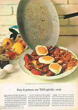 PUBLICITE ADVERTISING 065  1968   TEFAL  poele ovale pour poisson