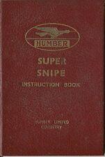 Humber Super Snipe 1938 Original Instruction Book