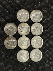 Kennedy Half Dollars Lot of 10 -1968 40% Silver Circulated Coins