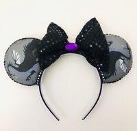 Disney Maleficent Dragon Minnie Ears Adult Halloween Purple & Black Headband