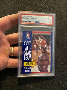 Michael Jordan PSA 5 Fleer All Star SLABBED Collector Card Man Cave GIFT 1991