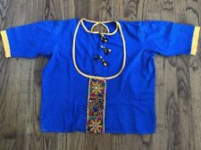 Vintage Indian Influence Top Blouse Blue Yellow Beaded Embellished