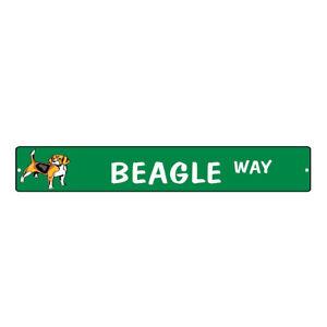 Aluminum Weatherproof Road Street Signs Beagle Dog Way Home Decor Wall