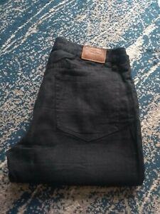 Polo Ralph Lauren W34 L36 Zipper Fly Linen Black Men's Trousers
