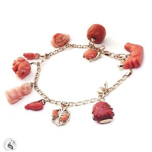 Antique carved coral charm bracelet solid 9ct gold & 18ct prayer bead buddha