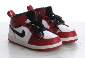 46-26 $65 Boy's Size 8C Nike Air Jordan 1 Mid in White/Gym Red/Black