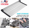 XXL Kitchen Stainless Steel Sink Drain Rack Roll Up Dish Food Drying Drainer Mat