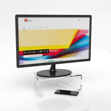 Clear Acrylic Desktop Monitor Stand With Keyboard Tray TV Display Screen Riser