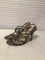 Circa Joan & David LUXE Open Toe Silver Gray Strap Heels Sandals Size 7 M