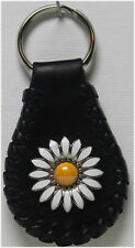 Handcrafted Leather Key Ring with White and Yellow Daisy