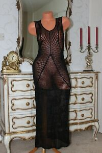 (Ref1) Black Knitted Sheer Elasticated Full Length Maxi Ladies Dress Size 12-16