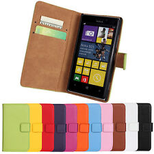 For Nokia Lumia 925 Flip Genuine Leather Stand Wallet Case Cover with Card Slot