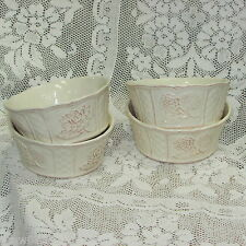 CUISINEWARE IVORY EMBOSSED RAMEKIN BOWLS 4 CERTIFIED INTERNATIONAL KARI DESIGN