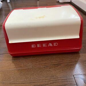 Vintage Lustro Ware Red Cream Plastic Bread Box B-20 Mid Century Modern Retro
